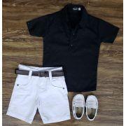 Bermuda Branca com Camisa Bata Preta