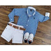 Bermuda Branca com Camisa Social Azul e Branco