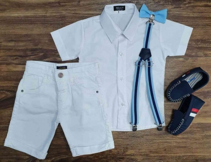 Bermuda Branca com Camisa Social Branca mais Suspensório e Gravata