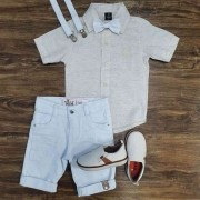 Bermuda Branca com Camisa Social Nude Infantil