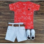 Bermuda Branca com Camiseta Bata Infantil