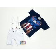 Bermuda Branca Com Camiseta Capitão América Megan Mais Suspensório