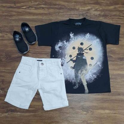 Bermuda Branca com Camiseta Naruto Hokage Infantil