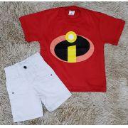 Bermuda Branca com Camiseta Os Incríveis Vermelha