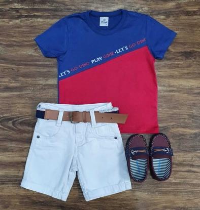 Bermuda Branca com Camiseta Play Game Infantil