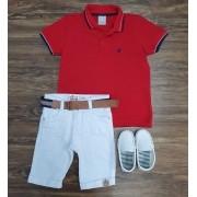 Bermuda Branca com Camisa Polo Vermelha Infantil