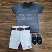 Bermuda Branca com Camiseta Preta Infantil