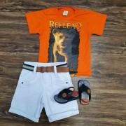 Bermuda Branca com Camiseta Rei Leão Infantil