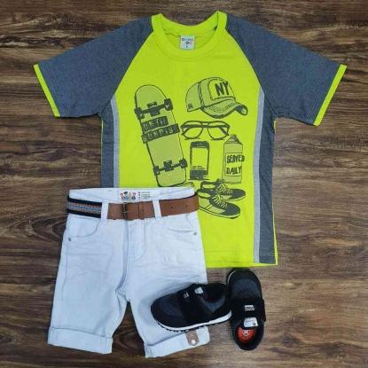 Bermuda Branca com Camiseta Skate Infantil