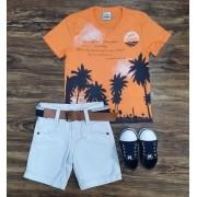 Bermuda Branca com Camiseta Summer Infantil