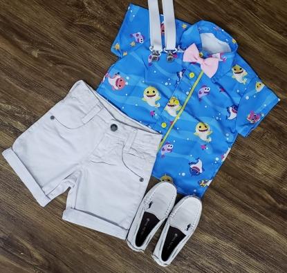 Conjunto Bermuda Baby Shark Infantil