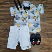 Bermuda Branco com Camisa Safari Cinza Infantil