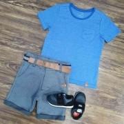 Bermuda Cinza com Camiseta Azul com Bolso Infantil