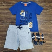 Bermuda Cinza com Camiseta Patrulha Canina Azul Infantil