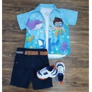 Bermuda com Camisa Fundo do Mar mais Camiseta Infantil