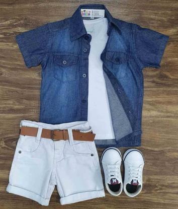 Bermuda com Camisa Jeans mais Camiseta Infantil