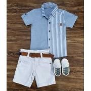 Bermuda com Camisa Listrada Infantil