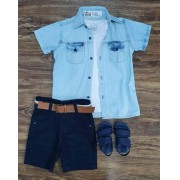 Bermuda com Camisa Jeans e Camiseta Infantil