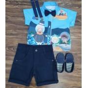 Conjunto Bita Fundo do Mar Azul Infantil