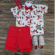 Bermuda com Camisa Papai Noel Infantil