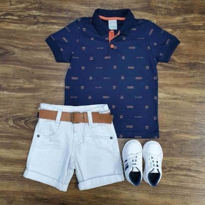 Bermuda com Camisa Polo Action Azul Infantil