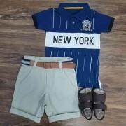 Bermuda com Camisa Polo New York Infantil