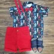 Bermuda com Camisa Robôs Infantil