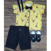 Bermuda Com Camisa Snoopy e Charlie Brown Infantil
