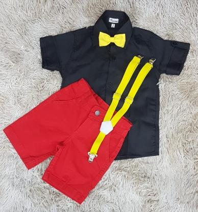 Conjunto Mickey Preto e Vermelho Infantil
