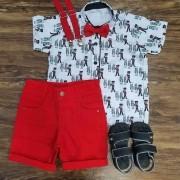 Bermuda Vermelho com Camisa Soldadinho de Chumbo Infantil