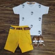 Bermuda com Camiseta Caveira Infantil