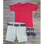 Bermuda com Camiseta Folhas Infantil