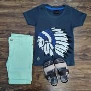 Bermuda com Camiseta Indigena Infantil