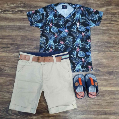 Bermuda com Camiseta Leaf Bluish Infantil