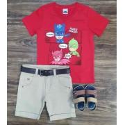 Bermuda com Camiseta PJ Masks Infantil