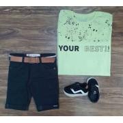 Bermuda com Camiseta Your Best Infantil