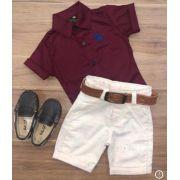 Bermuda com cinto e Camisa vinho