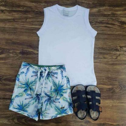 Bermuda Floral com Regata Branca Infantil