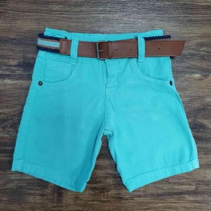 Bermuda Jeans Azul com Cinto Infantil