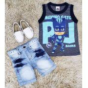 Bermuda Jeans Clara com Regata PJ Masks