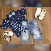 Bermuda Jeans com Camisa Coroa Azul Marinho mais Suspensório Gravata