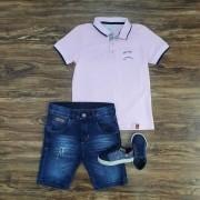 Bermuda Jeans com Camisa Polo Infantil