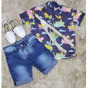 Bermuda Jeans com Camisa Social Azul Marinho Avião