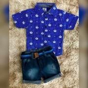 Bermuda Jeans com Camisa Social Coroa Manga Curta