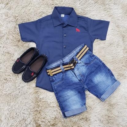 Bermuda Jeans com Camisa Social Manga Curta Azul