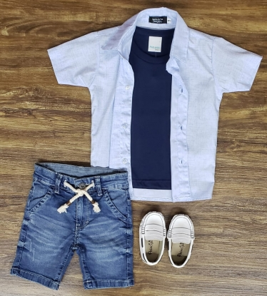Bermuda Jeans com Camiseta e Camisa