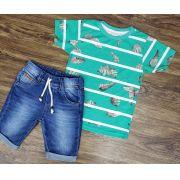 Bermuda Jeans com Camiseta Floral