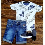 Bermuda Jeans com Camiseta Floral Infantil