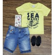 Bermuda Jeans com Camiseta Sea Waves
