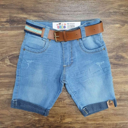 Bermuda Jeans com Cinto Infantil